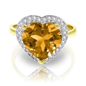 GOLD RING WITH DIAMONDS & HEART CITRINE